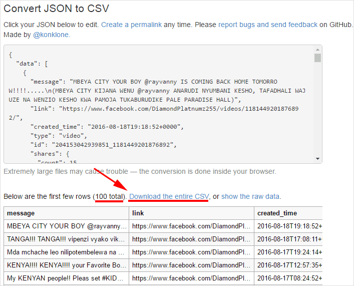 Converting Facebook Graph API JSON to CSV