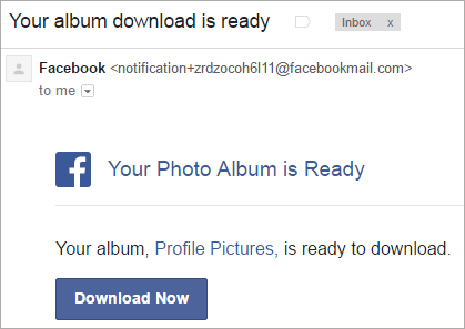 Facebook download link email