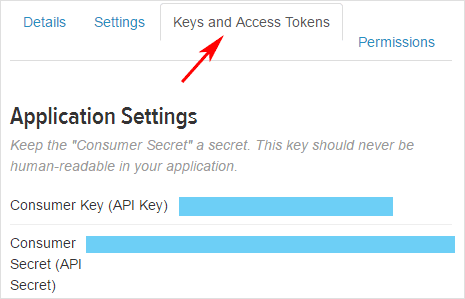 twitter api consumer key and consumer secret key