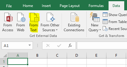 Import Text in Excel